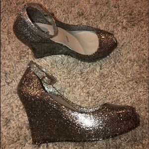 Andrea Silver Glitter Jelly Wedges